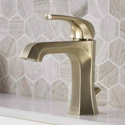 Esta Single Hole Single-Handle Basin Bathroom Faucet with Lift Rod Drain in Brushed Gold