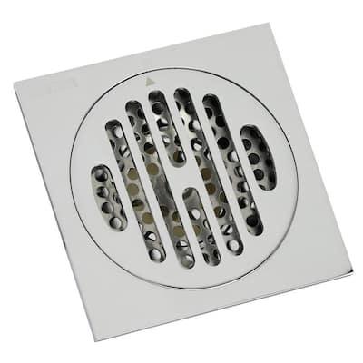 Symmetric 4 in. Square Grid Shower Drain, Chrome