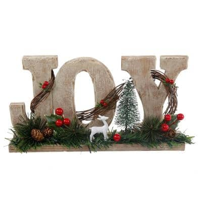 6.4 in. H x 12 in. L Wood Joy Sign with Deer and Berries