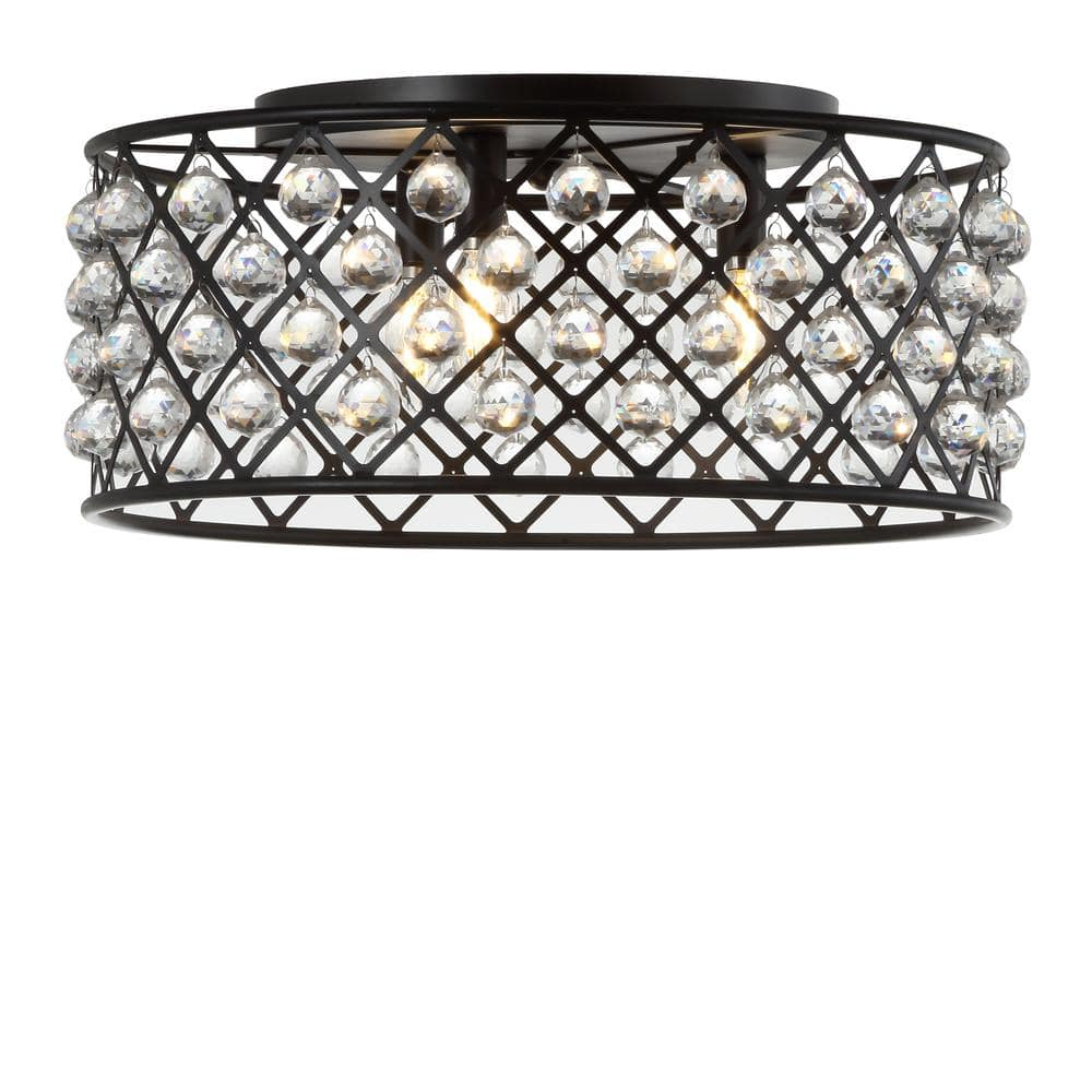 Jonathan Y Gabrielle 19 In Oil Rubbed Bronze Clear Metal Crystal Led Flush Mount Ceiling Light Jyl9024a The Home Depot