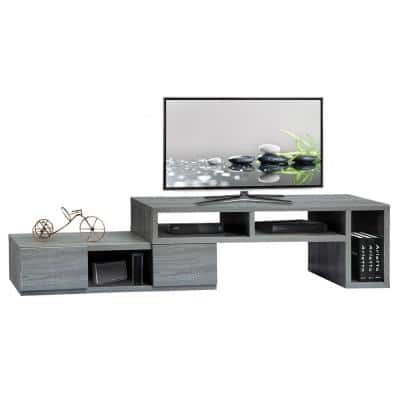 Techni Mobili 55.35 in. Gray Wood TV Stand Fits TVs Up to 65 in. with Storage Doors