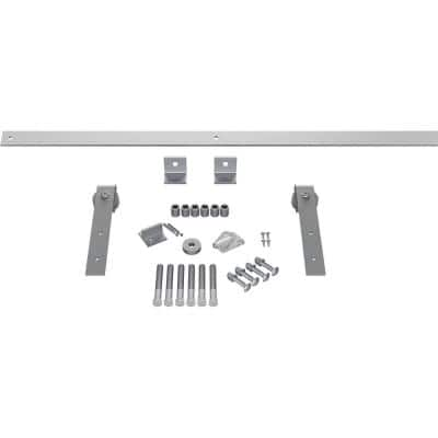 Goldberg Brothers Inc 1 1 2 In X 48 In X 11 1 2 In Steel Premium J Strap Barn Door Hardware Set Moulding Rocket White Gb60013h4rw The Home Depot