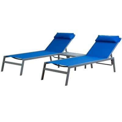 Wilson Grey EDP Coated Wrought Iron Breathable Blue Textilence Seat Outdoor Chaise Lounge with Table (2-Pack)