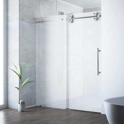 Elan 56 to 60 in. W x 74 in H Sliding Frameless Shower Door in Stainless Steel with Frosted Glass and Right Side Opening