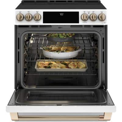 30 in. 5.7 cu. ft. Smart Slide-In Electric Range w/Self-Cleaning Convection Oven in Matte White, Fingerprint Resistant