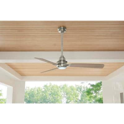 Ester 54 in. White Color Changing Integrated LED Indoor/Outdoor Brushed Nickel Ceiling Fan with Light Kit and Remote