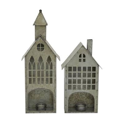 Grey Metal Farmhouse Candle Holder (Set of 2)