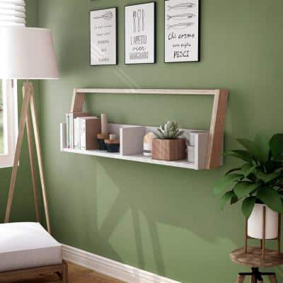 Addis 16.75 in. H Beige MDF Wood 2-Shelf Floating Accent Bookcase with 2-Tone