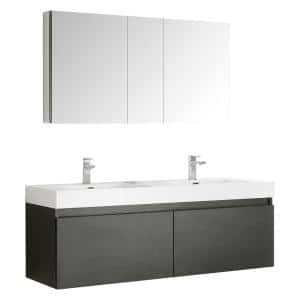Mezzo 59 in. Vanity in Black with Acrylic Vanity Top in White with White Basins and Mirrored Medicine Cabinet