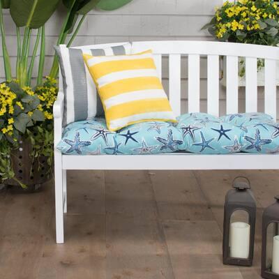 Starstruck 44 in. x 18.5 in. x 6 in. Outdoor Tufted Rectangular Loveseat Cushion in Blue