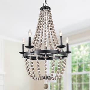 22 in. Wood and Crystal Beaded Chandelier 5-Light Black Modern Candlestick Pendant Lantern Empire Boho Ceiling Light