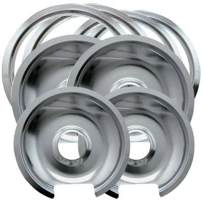 6 in. 2-Small and 8 in. 2-Large Drip Pan and Trim Ring in Chrome (8-Pack)