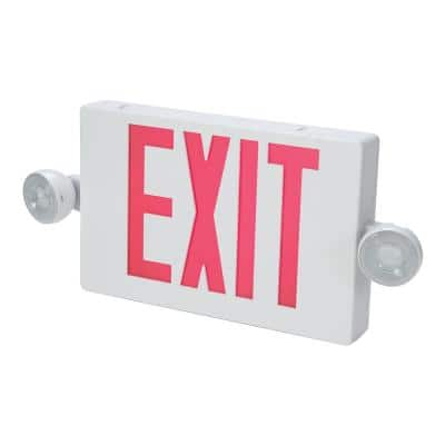 APC 25-Watt White Integrated LED Exit Sign in Red Letters