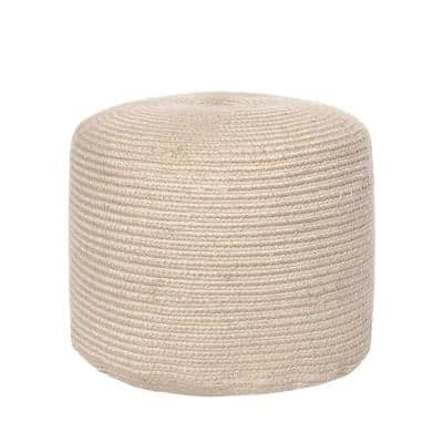 Braided Indoor/Outdoor Filled Ottoman Beige Round Pouf