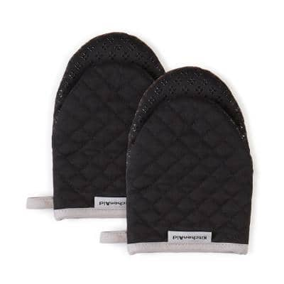 Asteroid Silicone Grip Black Mini Oven Mitt (2-Pack)