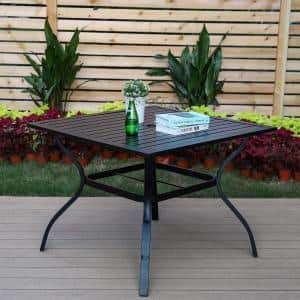 Black Slat Square Metal Patio Outdoor Dining Table with 1.57'' Umbrella Hole
