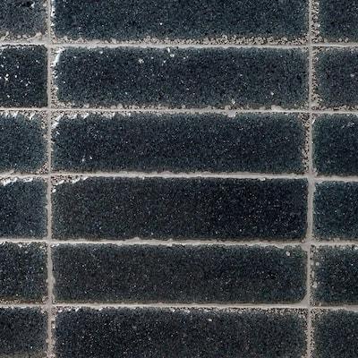 Magma Stone Black Brick 3 in. x 12 in. 19mm Glazed Subway Tile (4.11 sq. ft. / box, 17 pieces per set)