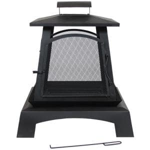 32 in. Black Steel Pagoda Style Wood-Burning Fireplace