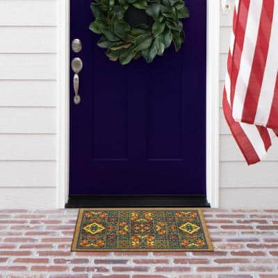 Bright Global Bordered 18 in. x 30 in. Faux Coir Door Mat