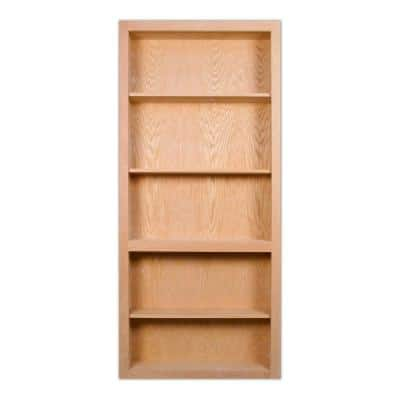 32 in. x 80 in. Flush Mount Assembled Red Oak Unfinished Wood 4-Shelf Interior Bookcase Door