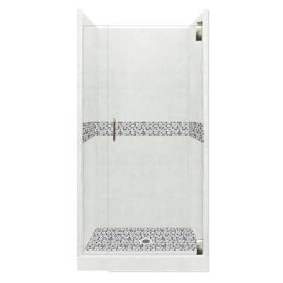 Del Mar Grand Hinged 36 in. x 36 in. x 80 in. Center Drain Alcove Shower Kit in Natural Buff and Chrome Hardware