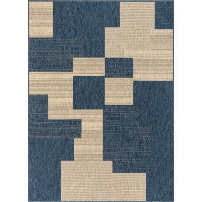 Medusa Thor Blue Geometric 5 ft. 3 in. x 7 ft. 3 in. Indoor/Outdoor Area Rug