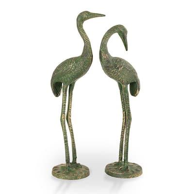 Bashful Crane Pair Garden Statue