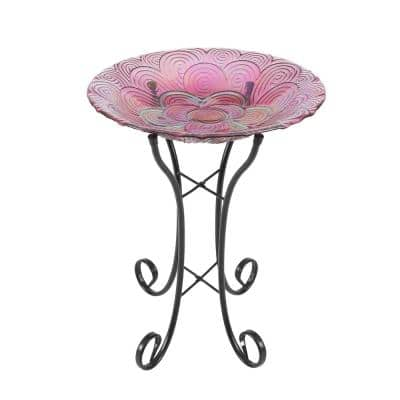 Pink Swirl Flower Glass Bird Bath with Metal Stand