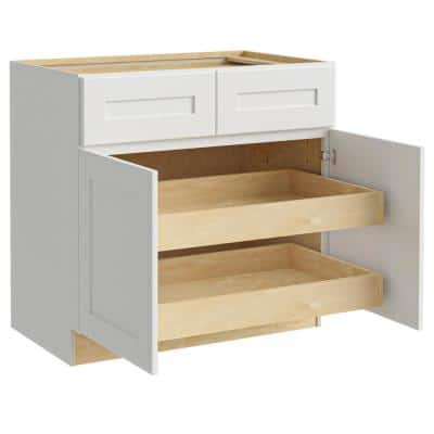 Newport Assembled 36x34.5x24 in. Plywood Shaker Base Kitchen Cabinet 2 rollouts Soft Close in Painted Pacific White