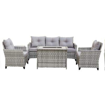 Maxwell 5-Pieces Wicker Patio Fire Pit Conversation Set with Gray Cushions