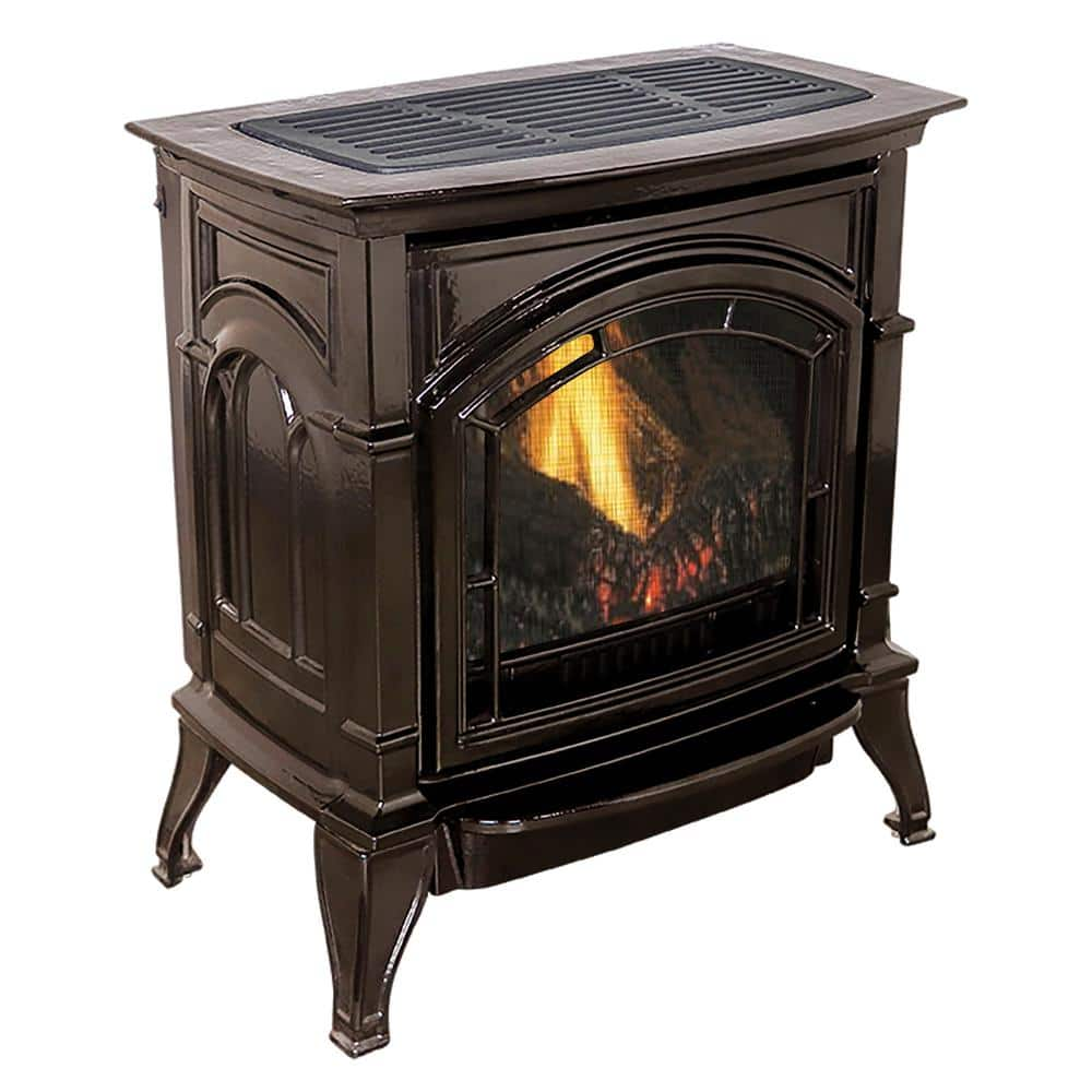 Ashley Hearth Products 31 000 Btu Vent Free Mahogany Enameled Porcelain Cast Iron Lp Propane Gas Stove Agc500vfmlp The Home Depot