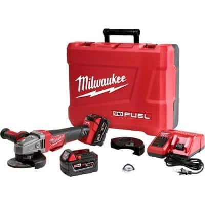 M18 FUEL 18-Volt Lithium-Ion Brushless Cordless 4-1/2 in./5 in. Braking Grinder Kit with Two 5.0Ah Batteries & Hard Case
