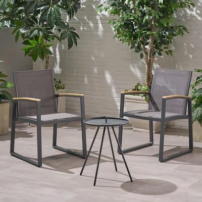 Glasgow Grey 3-Piece Aluminum and Mesh Patio Conversation Set