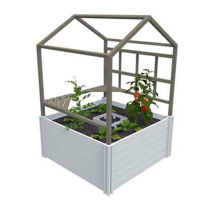 Keyhole Garden with Garden Rack and Green house 4ft' x 4ft' White Vinyl Raised Garden