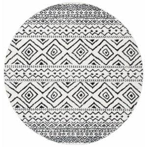Tulum Ivory/Black 9 ft. x 9 ft. Round Area Rug
