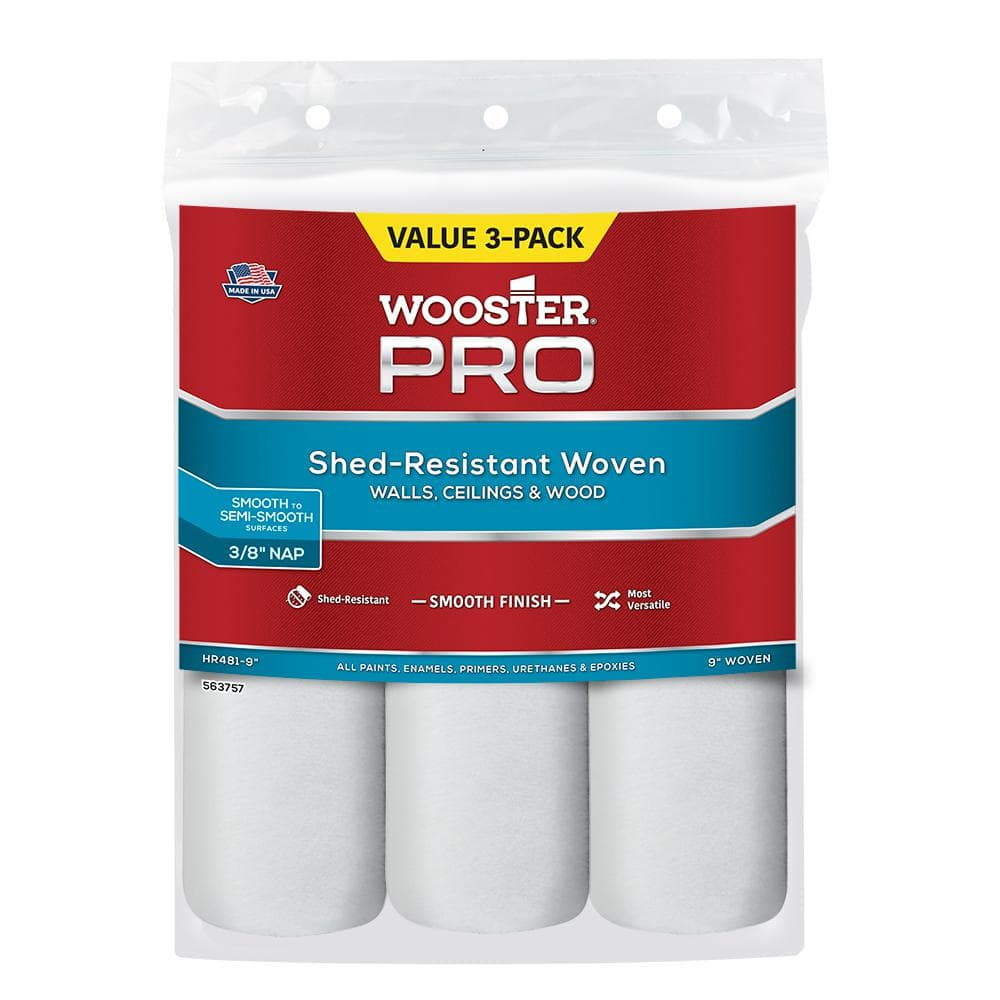 Wooster 9 in. x 3/8 in. High-Density Pro Woven Roller Cover (3-Pack)