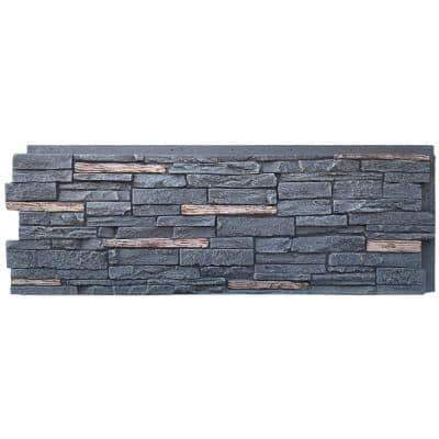 Slatestone Large 43 in. x 15.5 in. Polyurethane Faux Stone Panel in Midnight Ash