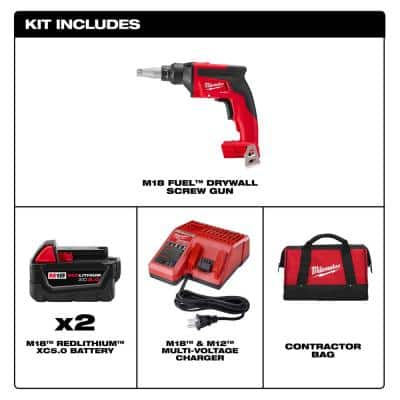 M18 FUEL 18-Volt Lithium-Ion Brushless Cordless Drywall Screw Gun Kit with (2) 5.0Ah Batteries, Charger and Tool Bag