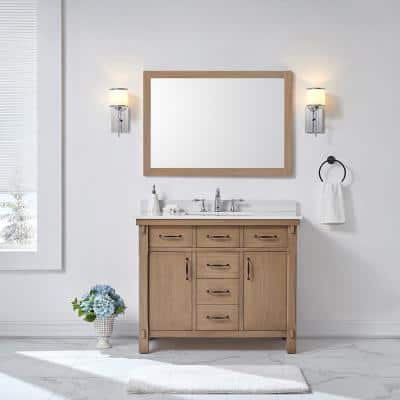Bellington 42 in. W x 22 in. D Vanity in Almond Toffee with Cultured Marble Vanity Top in White with White Sink