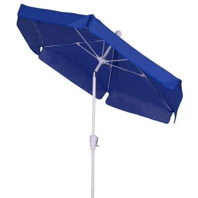 7.5' Hex Garden Patio Umbrella 6 Rib Crank White with Pacific Blue Vinyl Coated Weave Canopy