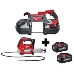 M18 FUEL 18-Volt Lithium-Ion Brushless Cordless Deep Cut Band Saw and Grease Gun 2-Speed with Two 6.0 Ah Batteries