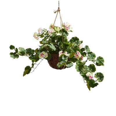 Faux Light Pink Geranium Flower Arrangement with Hanging Basket