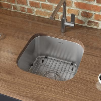Parmi 16 Gauge Stainless Steel 16 in. x 16 in. Undermount Bar Sink with Accessories