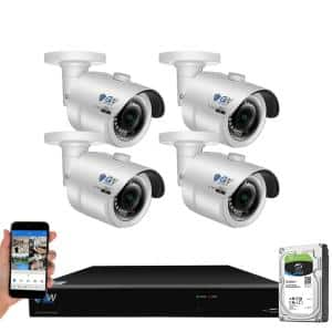 8-Channel 8MP 4K NVR 1TB Security Camera System with 4 Wired IP POE Cameras Bullet Fixed Lens, Artificial Intelligence