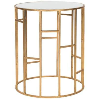 Doreen Gold and White Glass Top End Table
