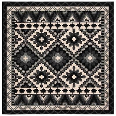 Veranda Black/Beige 3 ft. x 3 ft. Southwestern Tribal Indoor/Outdoor Square Area Rug