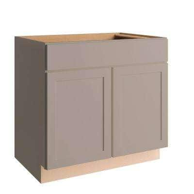 Courtland Shaker Assembled 36 in. x 34.5 in. x 24 in. Stock Sink Base Kitchen Cabinet in Sterling Gray Finish