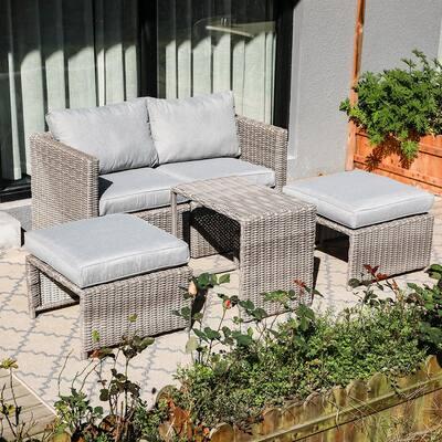 Soleil Jardin Grey 5-Piece Wicker Outdoor Loveseat with Light Grey Cushions