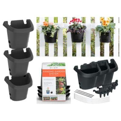 Black Hanging Garden Plastic Planter System (3 pack)