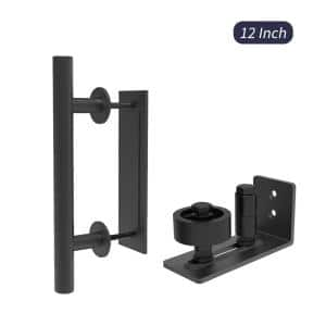 12 in. Black Ladder Pull and Flush Sliding Barn Door Handle Set with Floor Guide